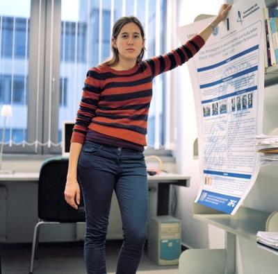 Clara en su oficina de Rostock. Febrero 2013.