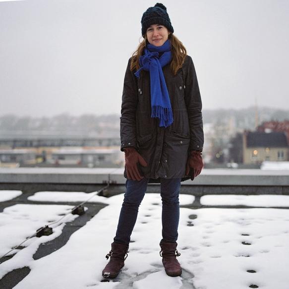 Clara en la terraza del Kolleg. Rostock. Febrero 2013.